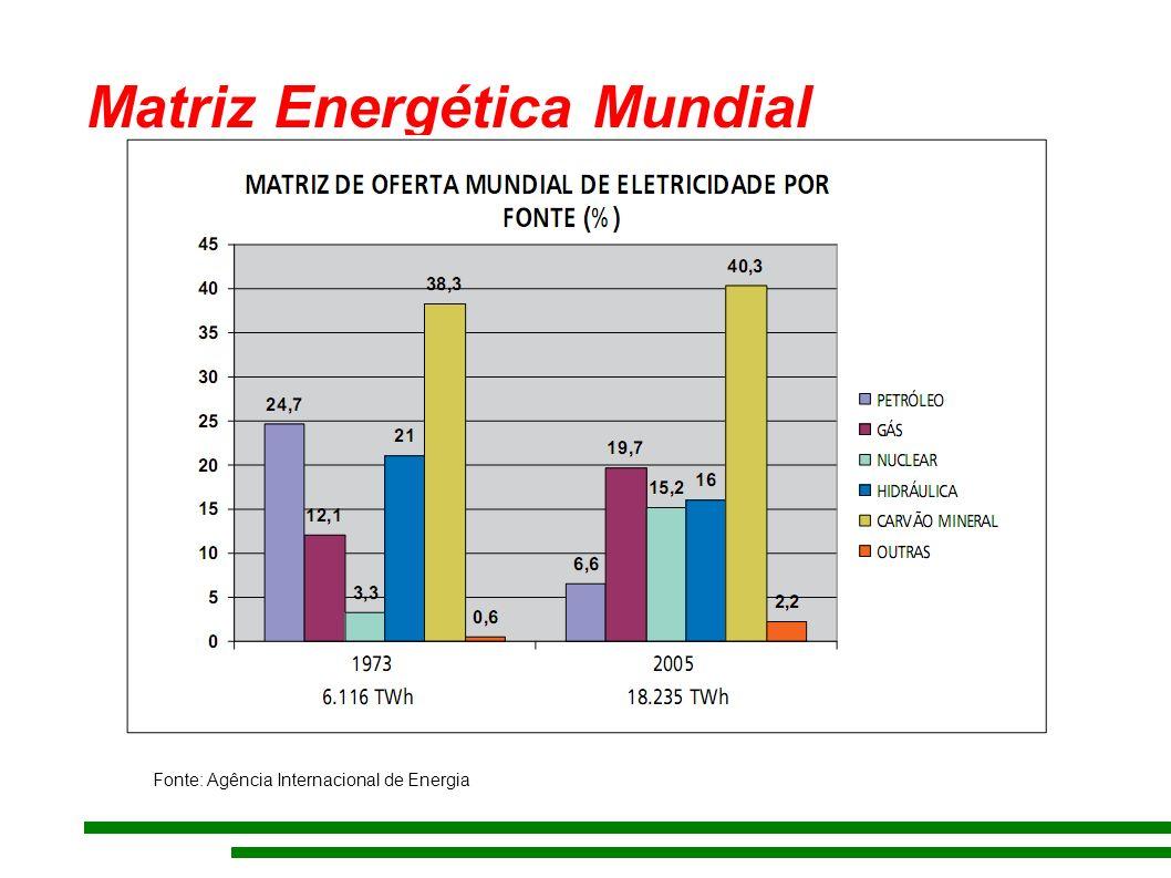 Matriz Energética Mundial Fonte: Agência Internacional de Energia