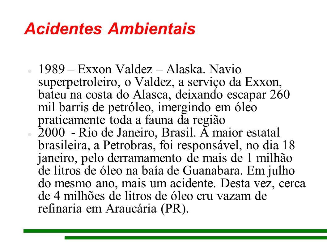 Acidentes Ambientais 1989 – Exxon Valdez – Alaska. Navio superpetroleiro, o Valdez, a serviço da Exxon, bateu na costa do Alasca, deixando escapar 260