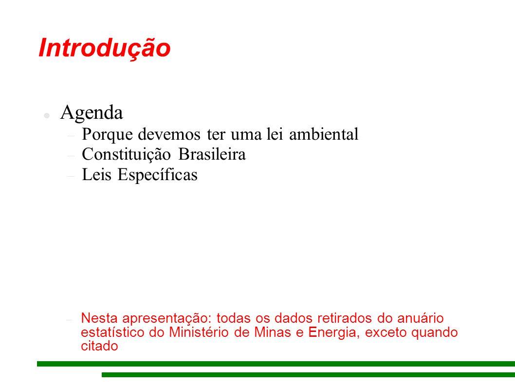 Introdução Agenda Porque devemos ter uma lei ambiental Constituição Brasileira Leis Específicas Nesta apresentação: todas os dados retirados do anuári