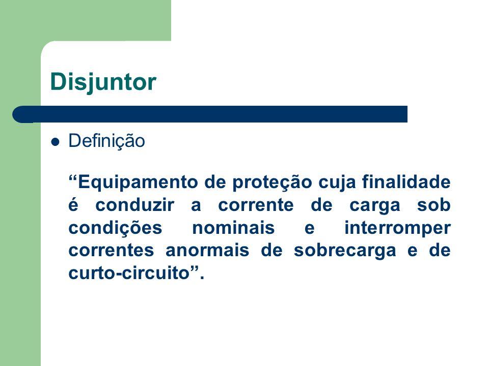 Disjuntor Definição Equipamento de proteção cuja finalidade é conduzir a corrente de carga sob condições nominais e interromper correntes anormais de