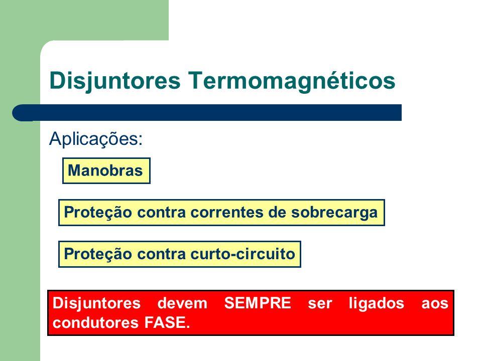 Disjuntores Termomagnéticos Aplicações: Proteção contra curto-circuito Manobras Proteção contra correntes de sobrecarga Disjuntores devem SEMPRE ser l