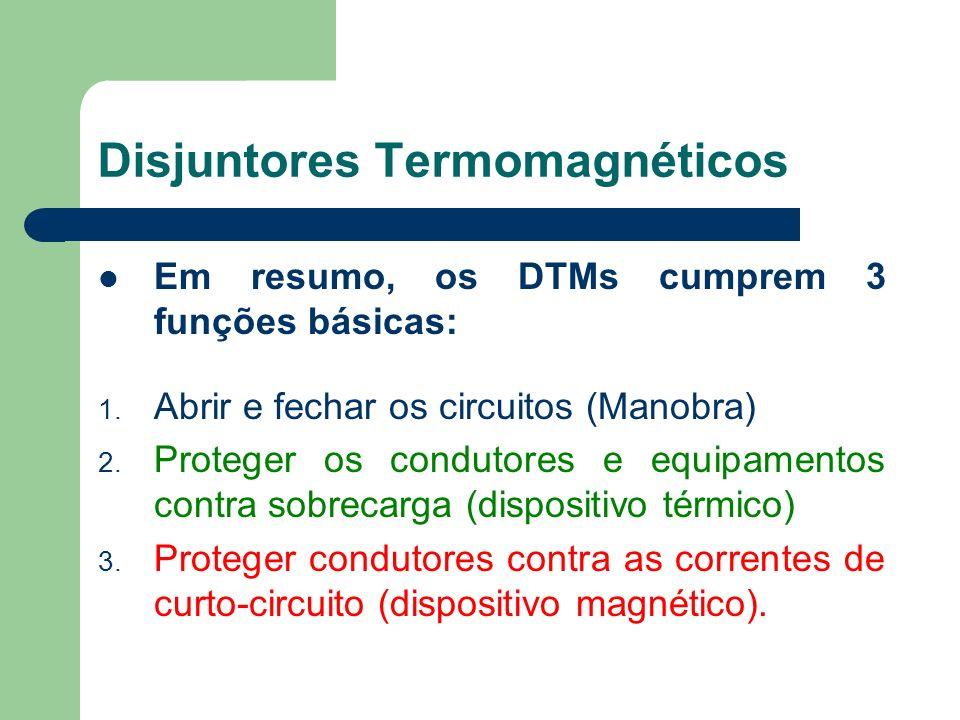 Em resumo, os DTMs cumprem 3 funções básicas: 1. Abrir e fechar os circuitos (Manobra) 2. Proteger os condutores e equipamentos contra sobrecarga (dis
