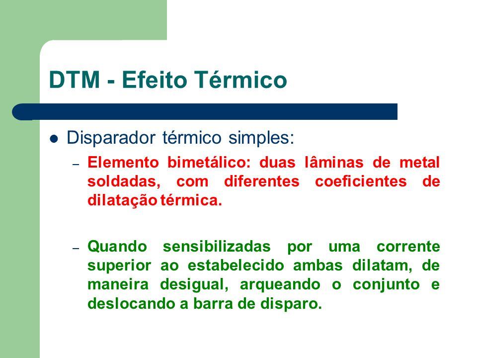 Disparador térmico simples: – Elemento bimetálico: duas lâminas de metal soldadas, com diferentes coeficientes de dilatação térmica. – Quando sensibil