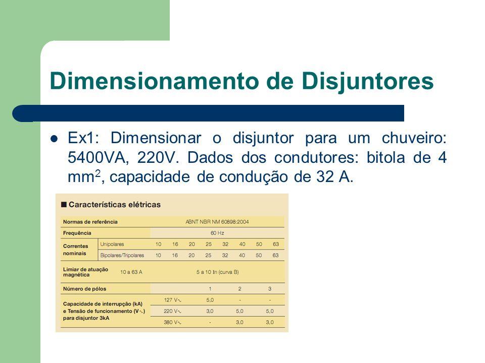 Ex1: Dimensionar o disjuntor para um chuveiro: 5400VA, 220V. Dados dos condutores: bitola de 4 mm 2, capacidade de condução de 32 A. Dimensionamento d