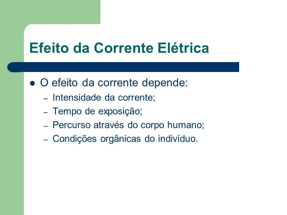 Efeito da Corrente Elétrica O efeito da corrente depende: – Intensidade da corrente; – Tempo de exposição; – Percurso através do corpo humano; – Condi