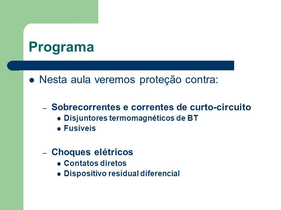Programa Nesta aula veremos proteção contra: – Sobrecorrentes e correntes de curto-circuito Disjuntores termomagnéticos de BT Fusíveis – Choques elétr