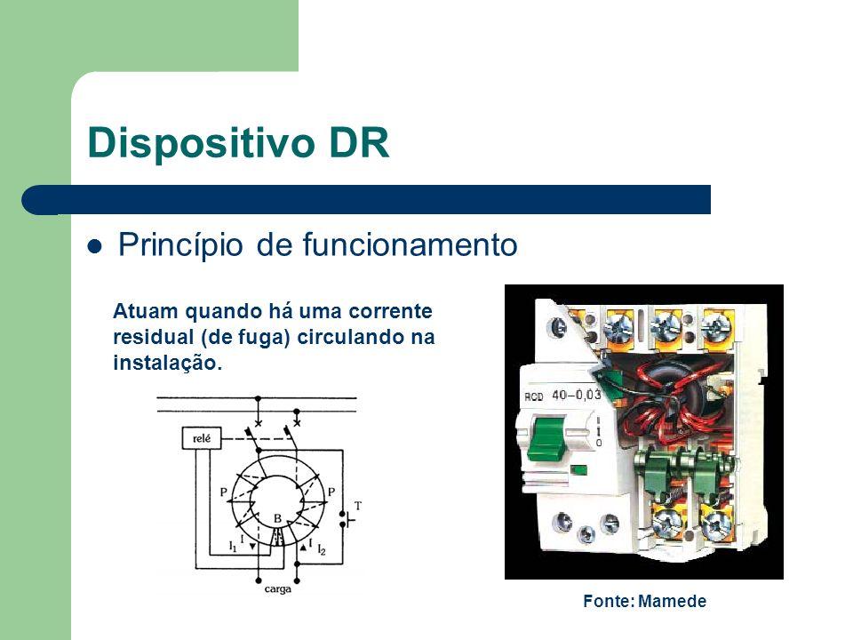 Dispositivo DR Princípio de funcionamento Atuam quando há uma corrente residual (de fuga) circulando na instalação. Fonte: Mamede