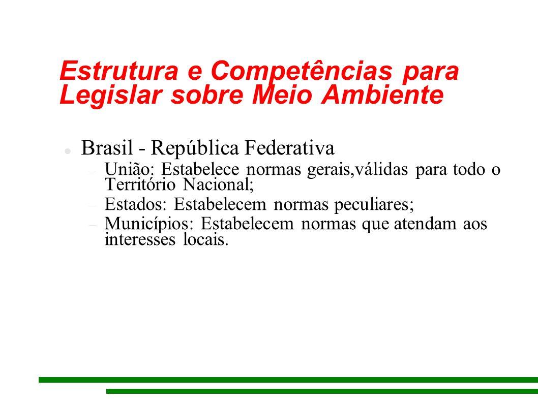 Estrutura e Competências para Legislar sobre Meio Ambiente Brasil - República Federativa União: Estabelece normas gerais,válidas para todo o Território Nacional; Estados: Estabelecem normas peculiares; Municípios: Estabelecem normas que atendam aos interesses locais.