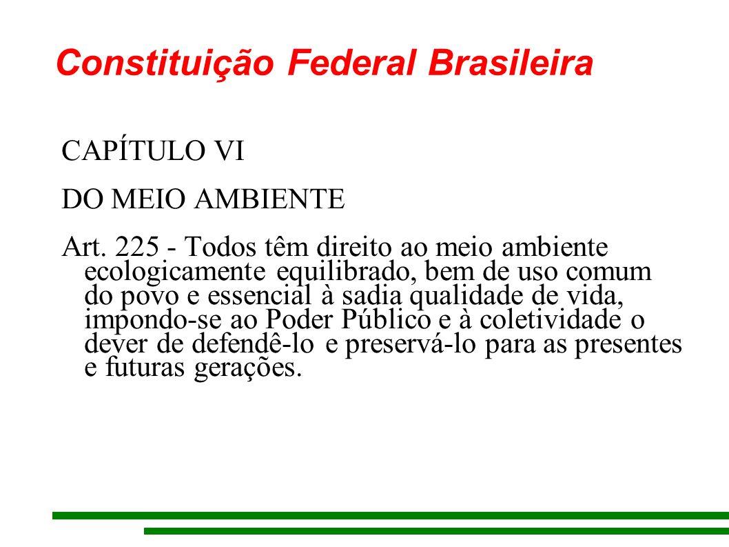 Constituição Federal Brasileira CAPÍTULO VI DO MEIO AMBIENTE Art.