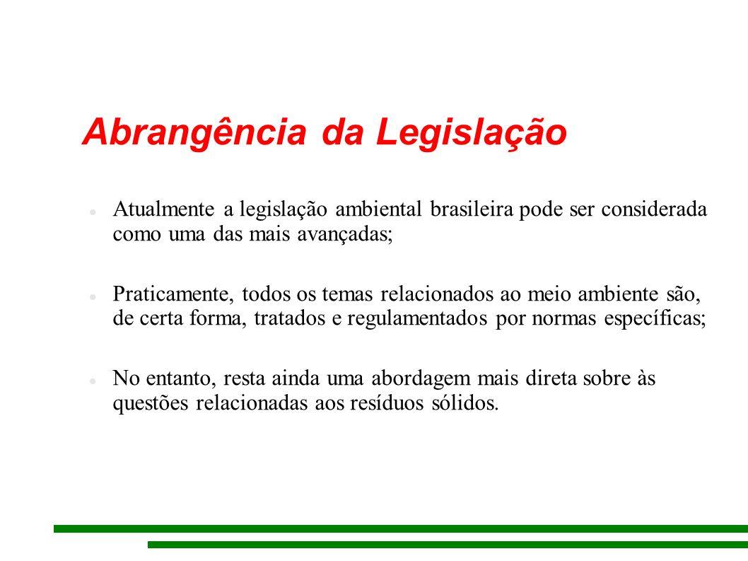 Abrangência da Legislação Atualmente a legislação ambiental brasileira pode ser considerada como uma das mais avançadas; Praticamente, todos os temas relacionados ao meio ambiente são, de certa forma, tratados e regulamentados por normas específicas; No entanto, resta ainda uma abordagem mais direta sobre às questões relacionadas aos resíduos sólidos.