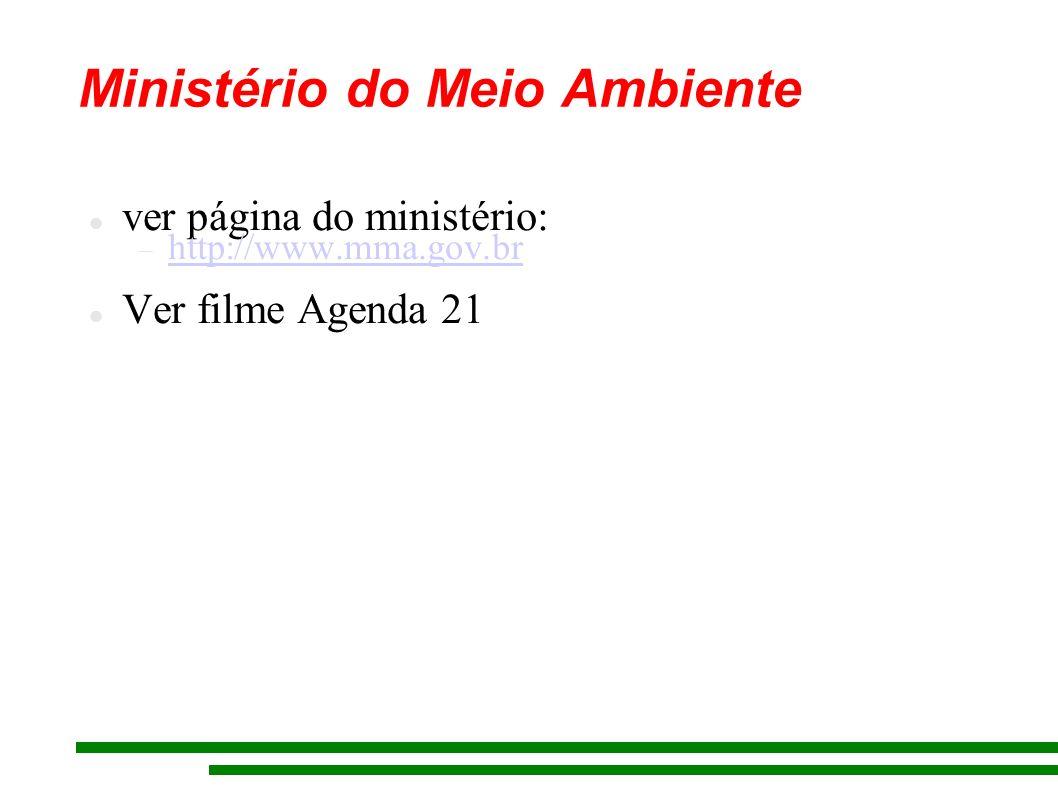 Ministério do Meio Ambiente ver página do ministério: http://www.mma.gov.br Ver filme Agenda 21