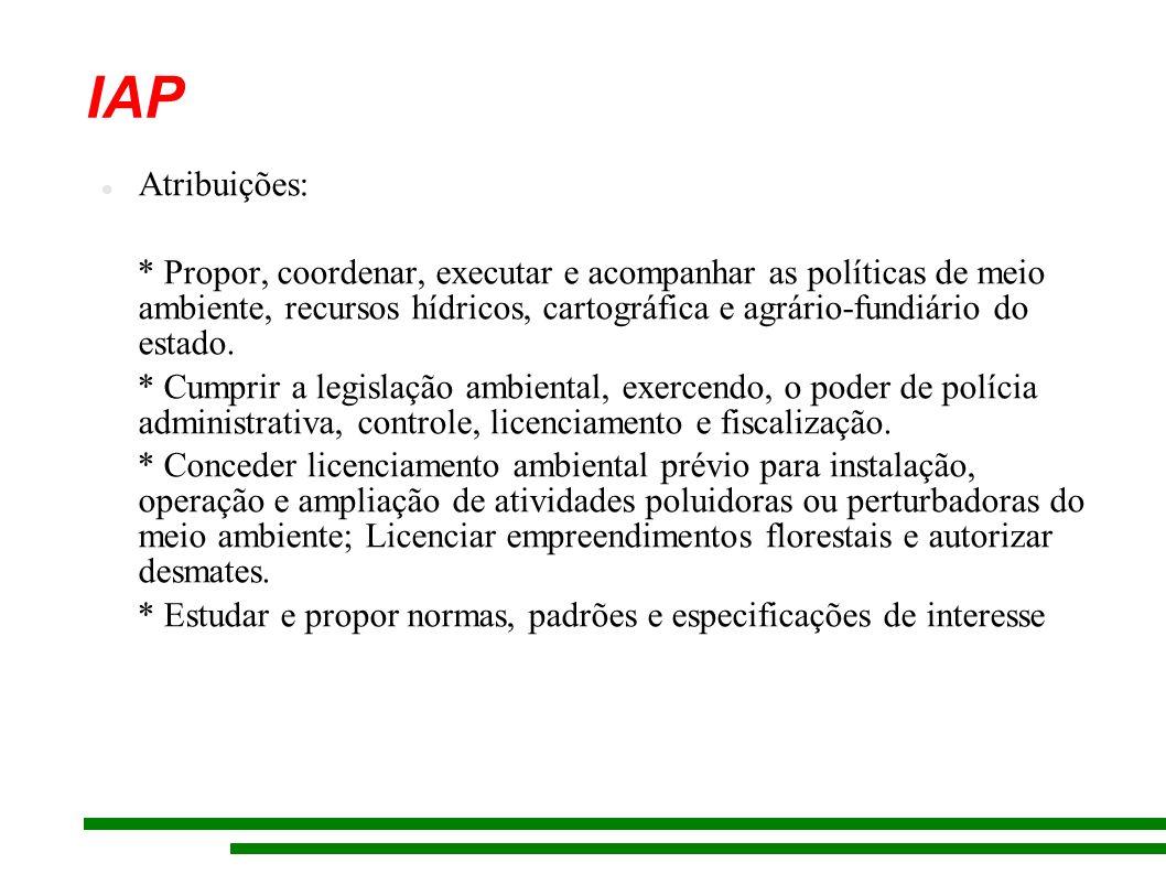 IAP Atribuições: * Propor, coordenar, executar e acompanhar as políticas de meio ambiente, recursos hídricos, cartográfica e agrário-fundiário do estado.