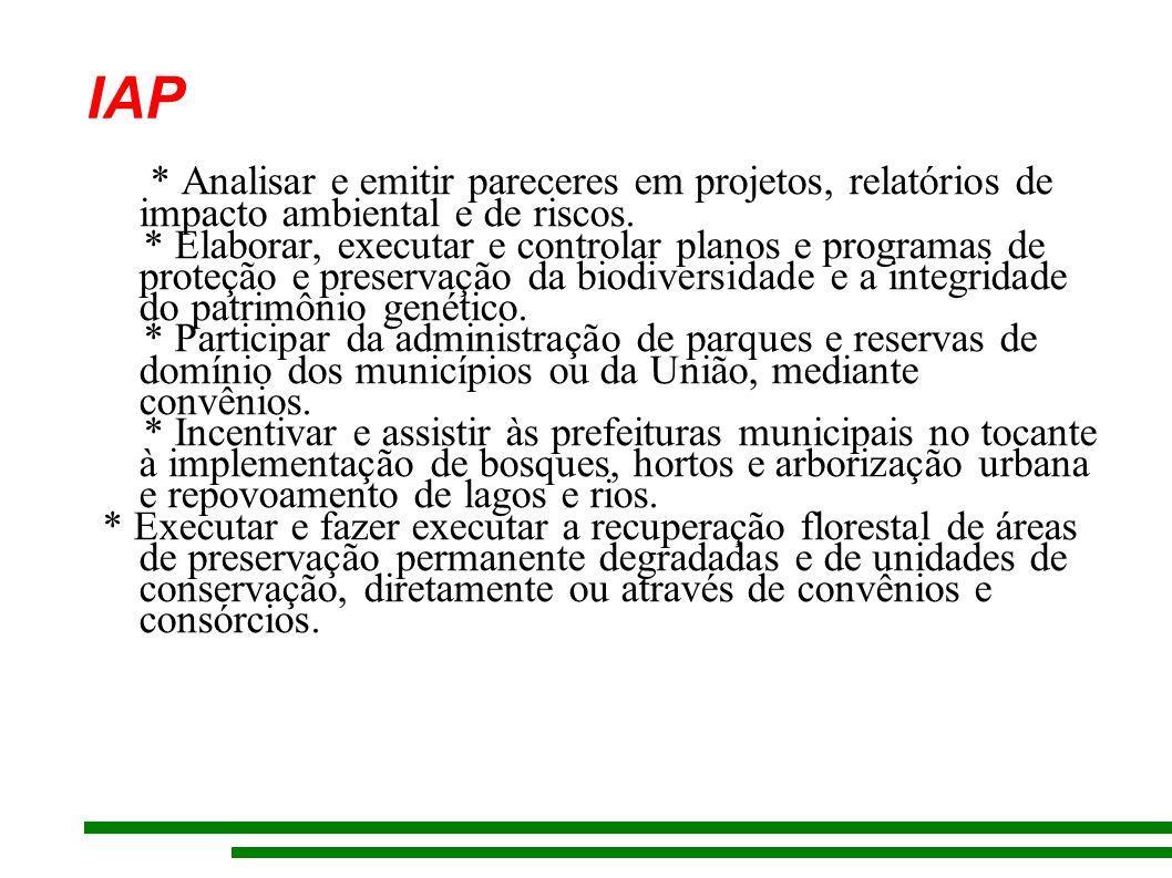 IAP * Analisar e emitir pareceres em projetos, relatórios de impacto ambiental e de riscos.