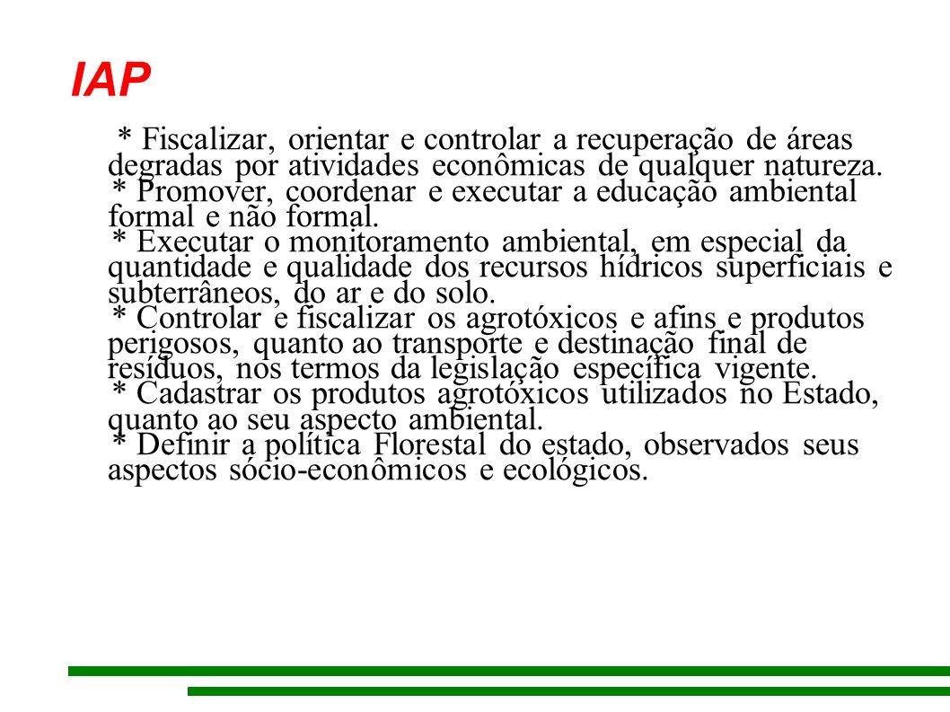 IAP * Fiscalizar, orientar e controlar a recuperação de áreas degradas por atividades econômicas de qualquer natureza.