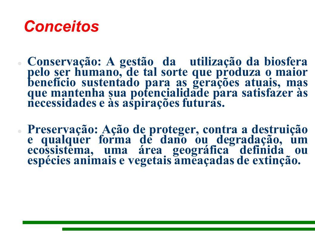 Conservação: A gestão da utilização da biosfera pelo ser humano, de tal sorte que produza o maior benefício sustentado para as gerações atuais, mas que mantenha sua potencialidade para satisfazer às necessidades e às aspirações futuras.