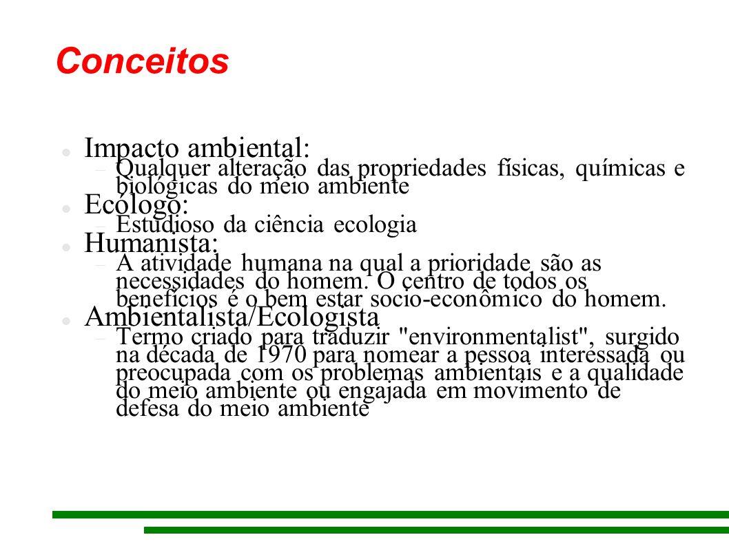 Impacto ambiental: Qualquer alteração das propriedades físicas, químicas e biológicas do meio ambiente Ecólogo: Estudioso da ciência ecologia Humanista: A atividade humana na qual a prioridade são as necessidades do homem.
