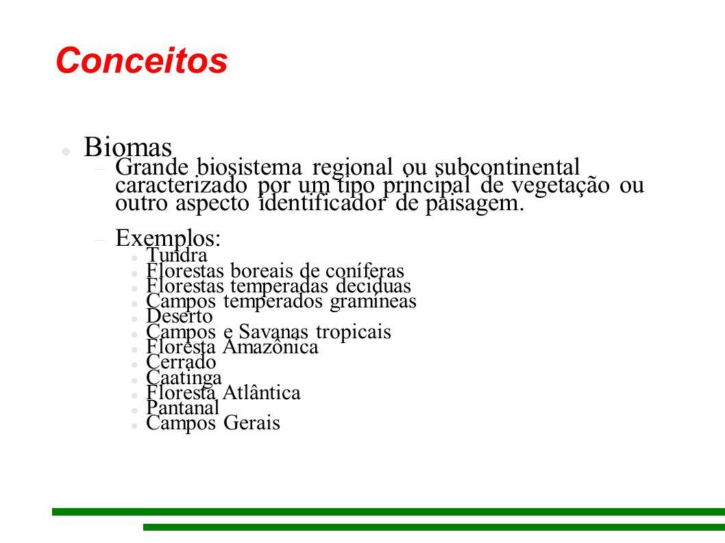Biomas Grande biosistema regional ou subcontinental caracterizado por um tipo principal de vegetação ou outro aspecto identificador de paisagem.