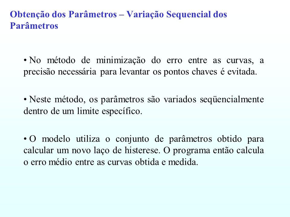 Obtenção dos Parâmetros – Variação Sequencial dos Parâmetros No método de minimização do erro entre as curvas, a precisão necessária para levantar os