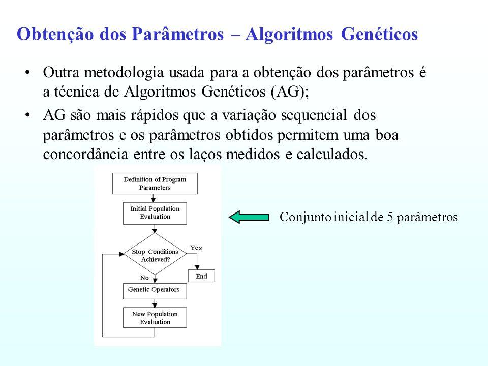 Obtenção dos Parâmetros – Algoritmos Genéticos Outra metodologia usada para a obtenção dos parâmetros é a técnica de Algoritmos Genéticos (AG); AG são