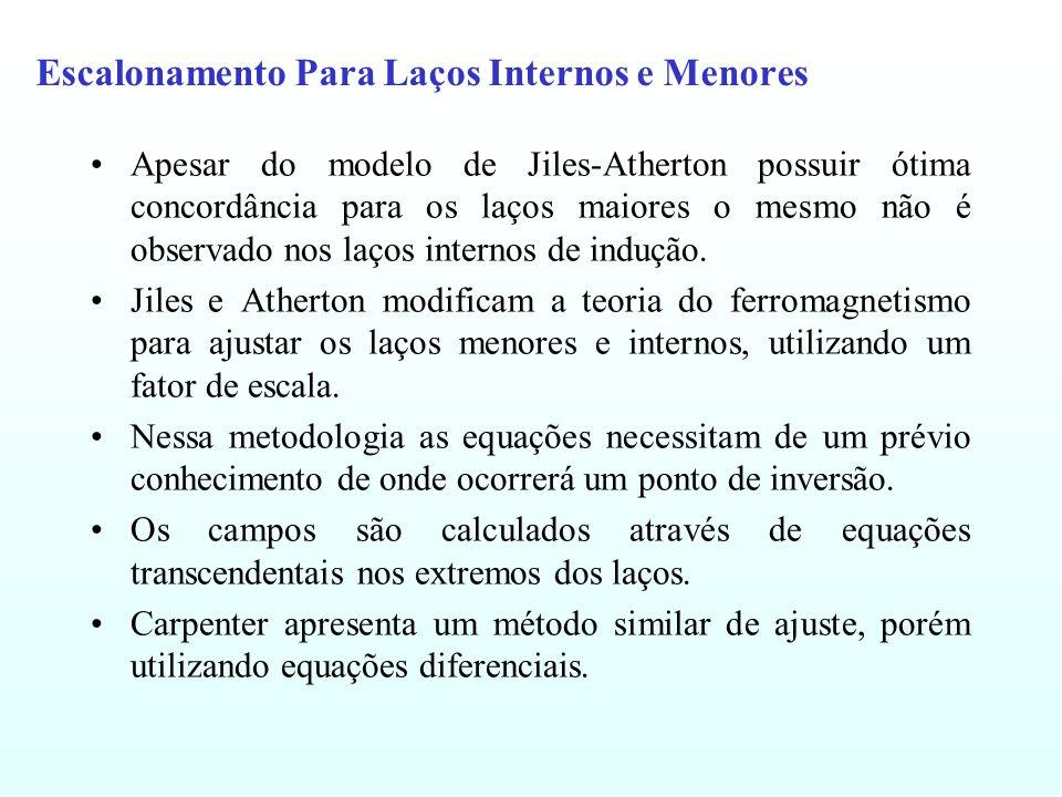 Escalonamento Para Laços Internos e Menores Apesar do modelo de Jiles-Atherton possuir ótima concordância para os laços maiores o mesmo não é observad