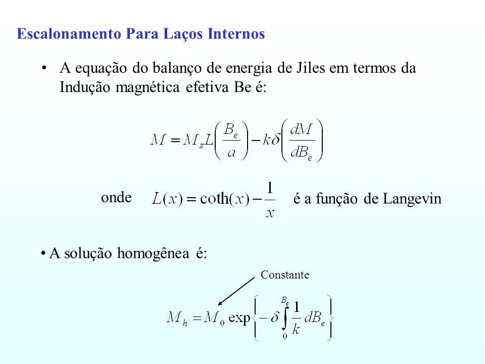 Escalonamento Para Laços Internos A equação do balanço de energia de Jiles em termos da Indução magnética efetiva Be é: onde é a função de Langevin A