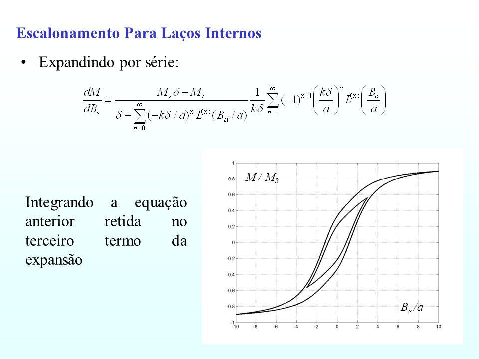 Escalonamento Para Laços Internos Expandindo por série: B e /a M / M S Integrando a equação anterior retida no terceiro termo da expansão