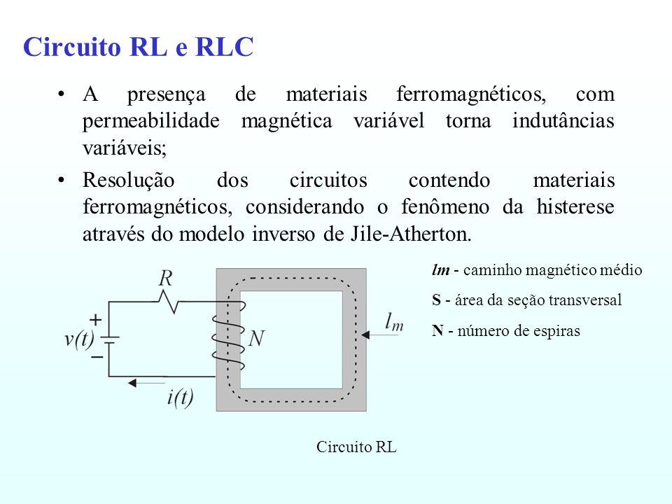 Circuito RL e RLC A presença de materiais ferromagnéticos, com permeabilidade magnética variável torna indutâncias variáveis; Resolução dos circuitos