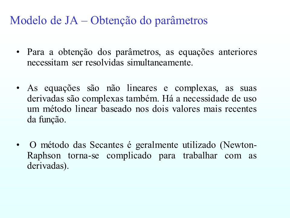 Modelo de JA – Obtenção do parâmetros Para a obtenção dos parâmetros, as equações anteriores necessitam ser resolvidas simultaneamente. As equações sã