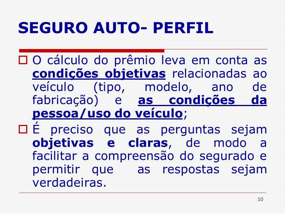 10 SEGURO AUTO- PERFIL O cálculo do prêmio leva em conta as condições objetivas relacionadas ao veículo (tipo, modelo, ano de fabricação) e as condiçõ