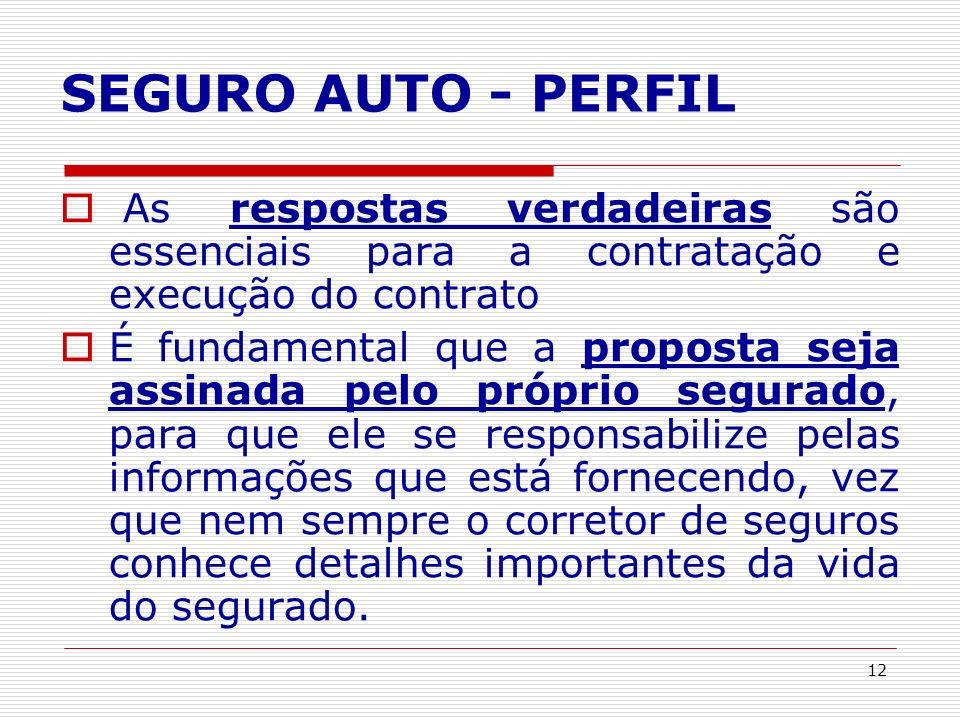 12 SEGURO AUTO - PERFIL As respostas verdadeiras são essenciais para a contratação e execução do contrato É fundamental que a proposta seja assinada p