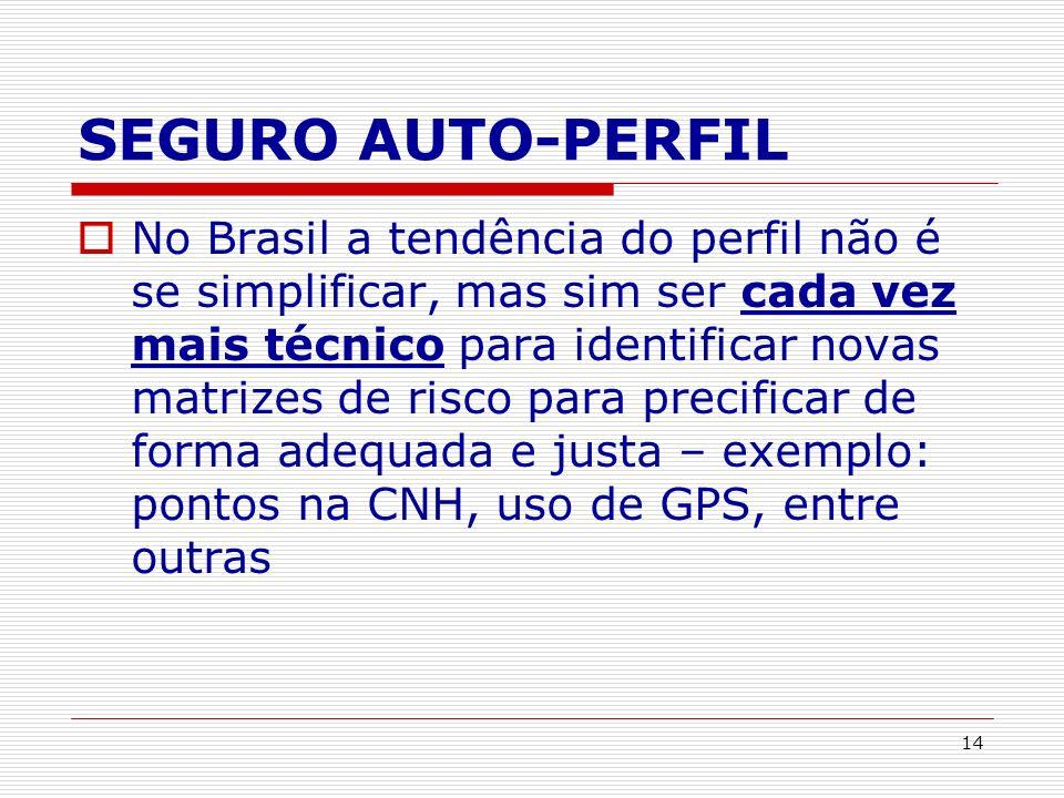 14 SEGURO AUTO-PERFIL No Brasil a tendência do perfil não é se simplificar, mas sim ser cada vez mais técnico para identificar novas matrizes de risco