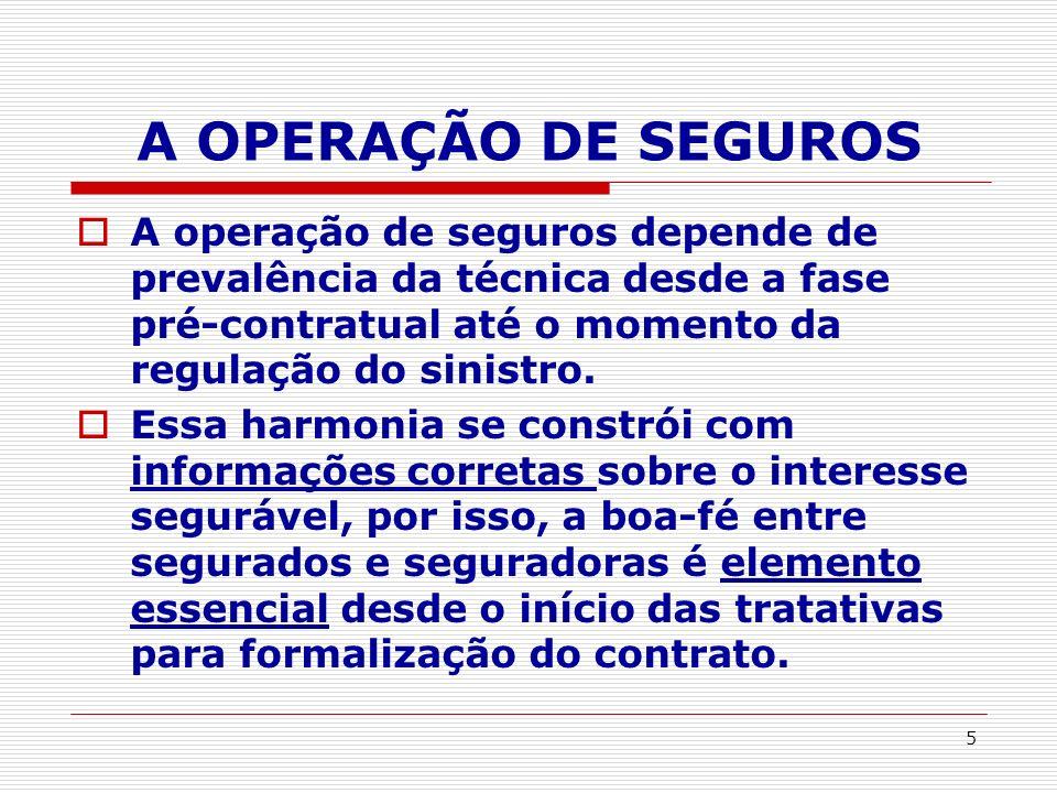 5 A OPERAÇÃO DE SEGUROS A operação de seguros depende de prevalência da técnica desde a fase pré-contratual até o momento da regulação do sinistro. Es