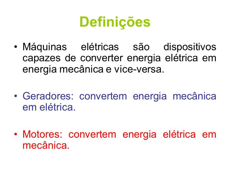 Definições Máquinas elétricas são dispositivos capazes de converter energia elétrica em energia mecânica e vice-versa. Geradores: convertem energia me