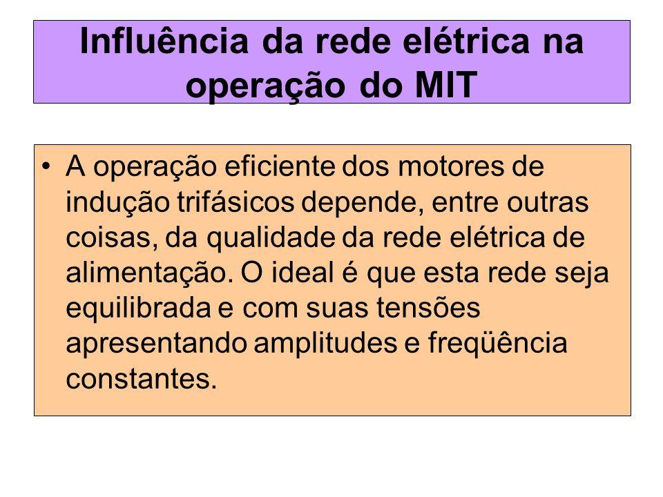 Influência da rede elétrica na operação do MIT A operação eficiente dos motores de indução trifásicos depende, entre outras coisas, da qualidade da re