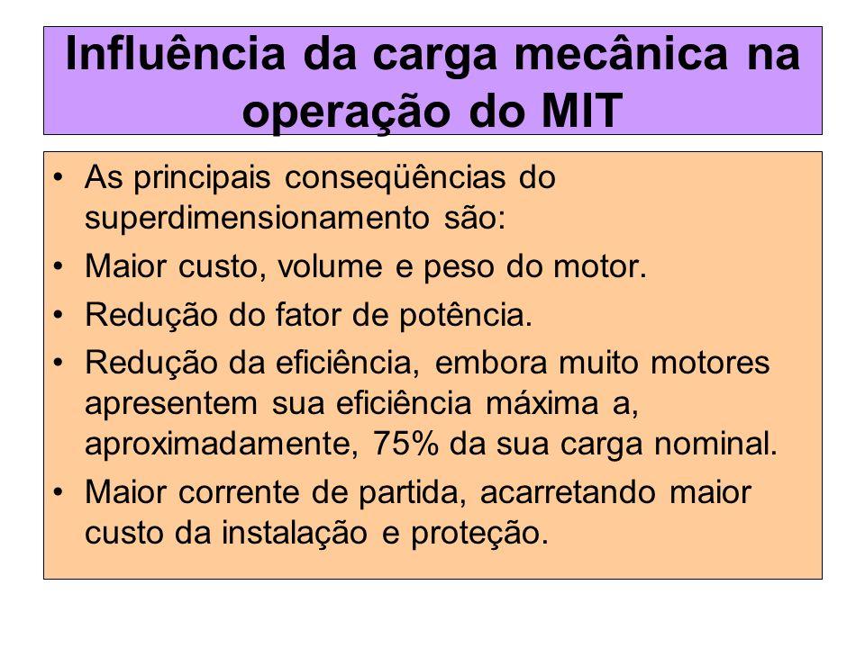Influência da carga mecânica na operação do MIT As principais conseqüências do superdimensionamento são: Maior custo, volume e peso do motor. Redução
