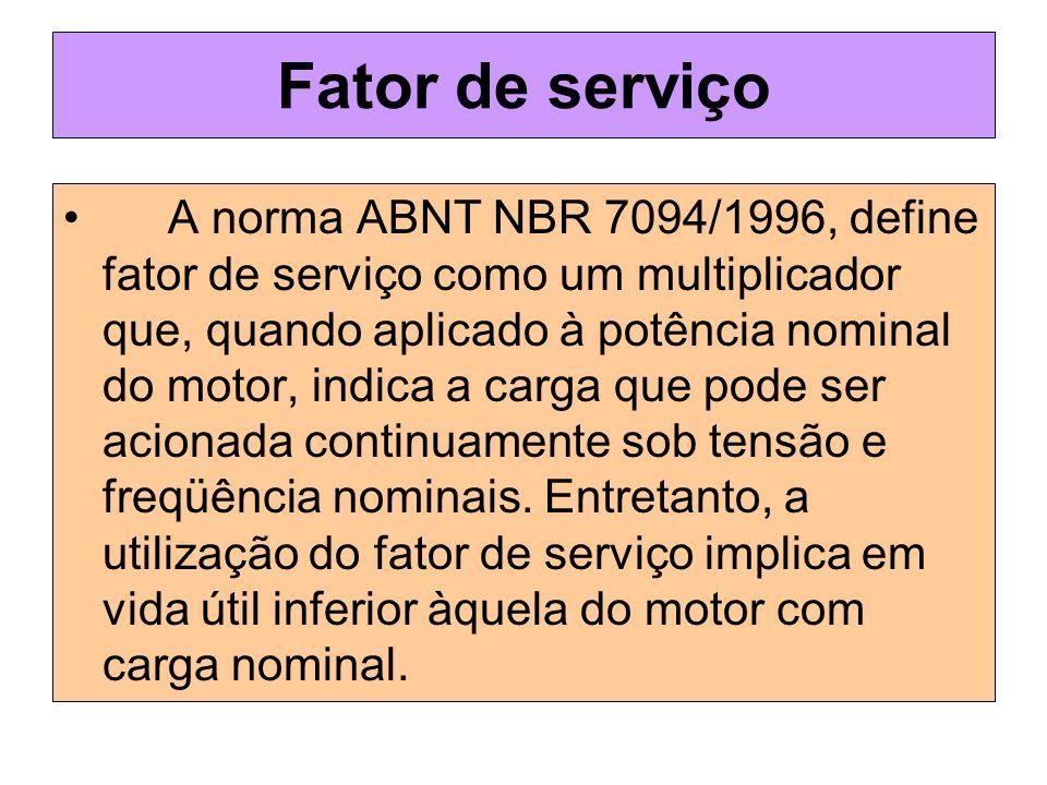 Fator de serviço A norma ABNT NBR 7094/1996, define fator de serviço como um multiplicador que, quando aplicado à potência nominal do motor, indica a