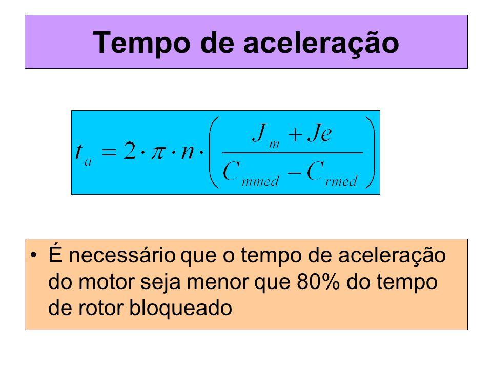 Tempo de aceleração É necessário que o tempo de aceleração do motor seja menor que 80% do tempo de rotor bloqueado