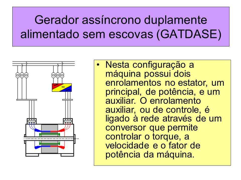 Gerador assíncrono duplamente alimentado sem escovas (GATDASE) Nesta configuração a máquina possui dois enrolamentos no estator, um principal, de potê