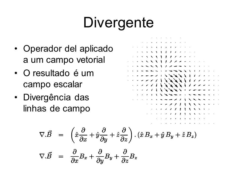 Divergente Operador del aplicado a um campo vetorial O resultado é um campo escalar Divergência das linhas de campo