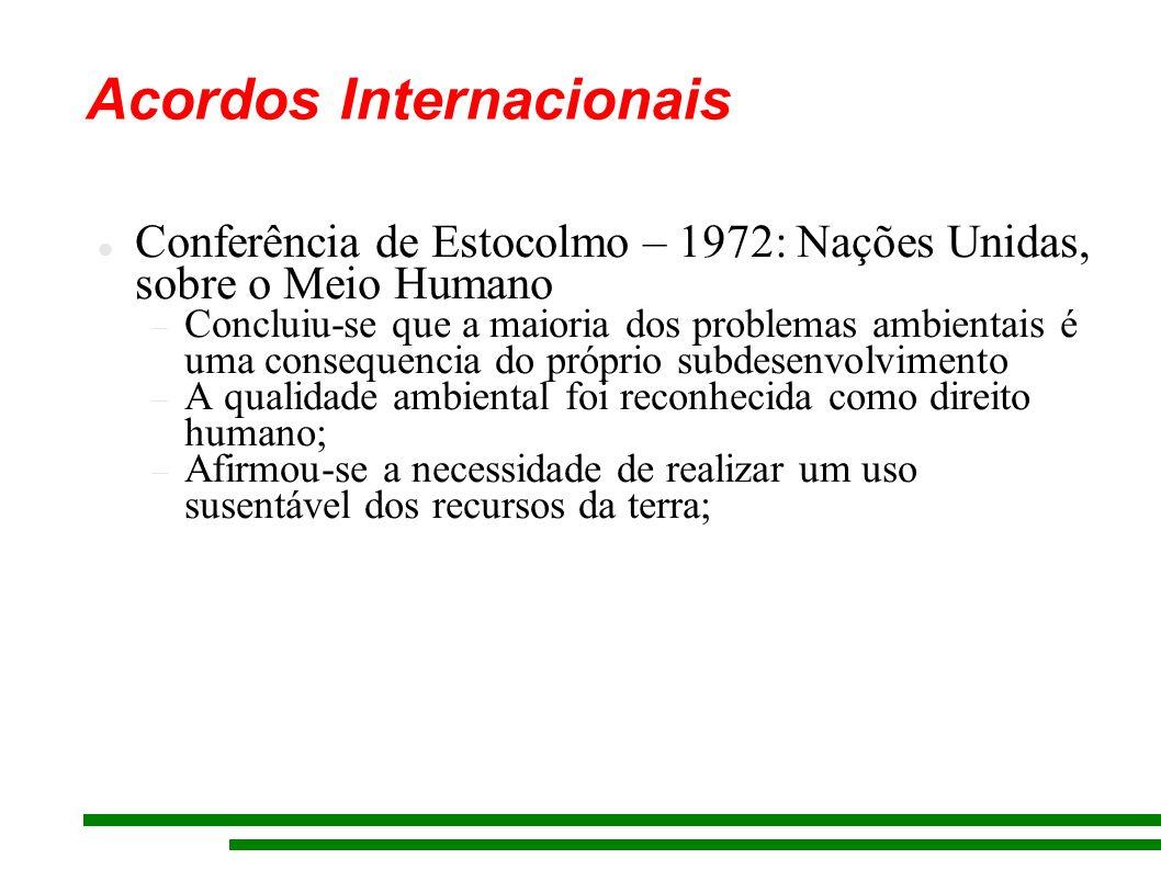 Acordos Internacionais Conferência de Estocolmo – 1972: Nações Unidas, sobre o Meio Humano Concluiu-se que a maioria dos problemas ambientais é uma co