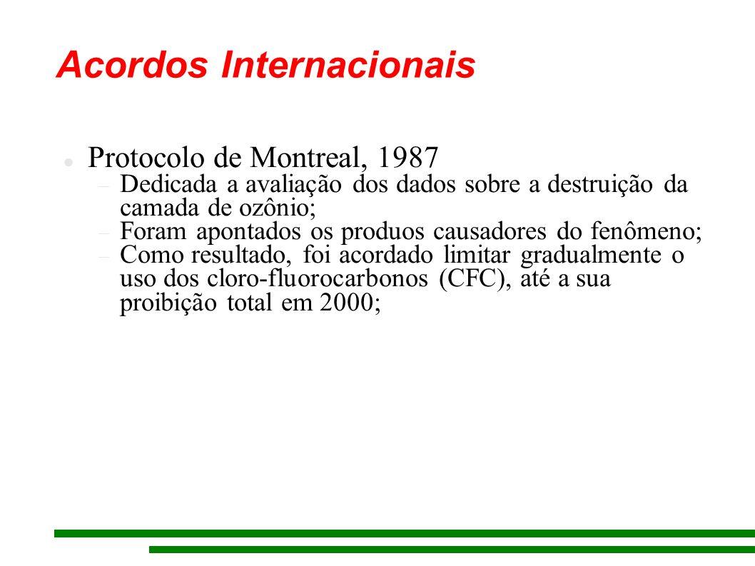 Acordos Internacionais Protocolo de Montreal, 1987 Dedicada a avaliação dos dados sobre a destruição da camada de ozônio; Foram apontados os produos c