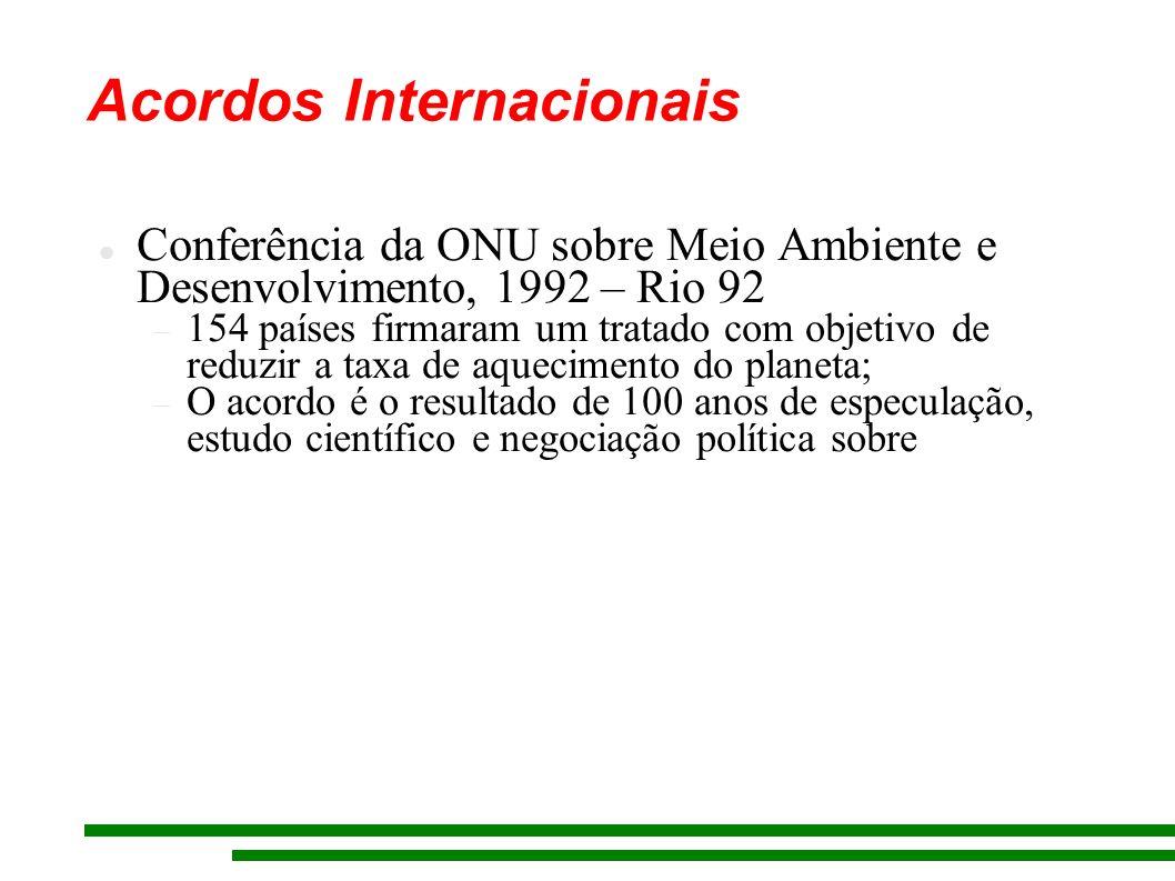 Acordos Internacionais Conferência da ONU sobre Meio Ambiente e Desenvolvimento, 1992 – Rio 92 154 países firmaram um tratado com objetivo de reduzir