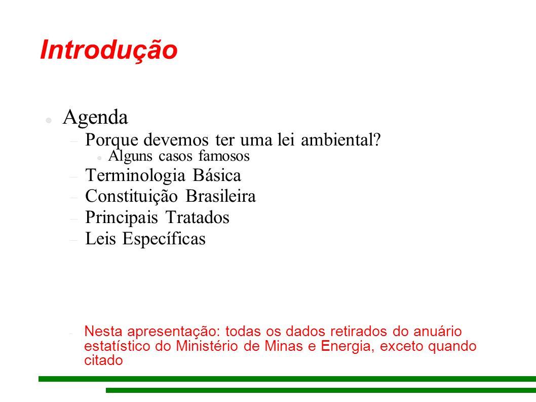 Introdução Agenda Porque devemos ter uma lei ambiental? Alguns casos famosos Terminologia Básica Constituição Brasileira Principais Tratados Leis Espe