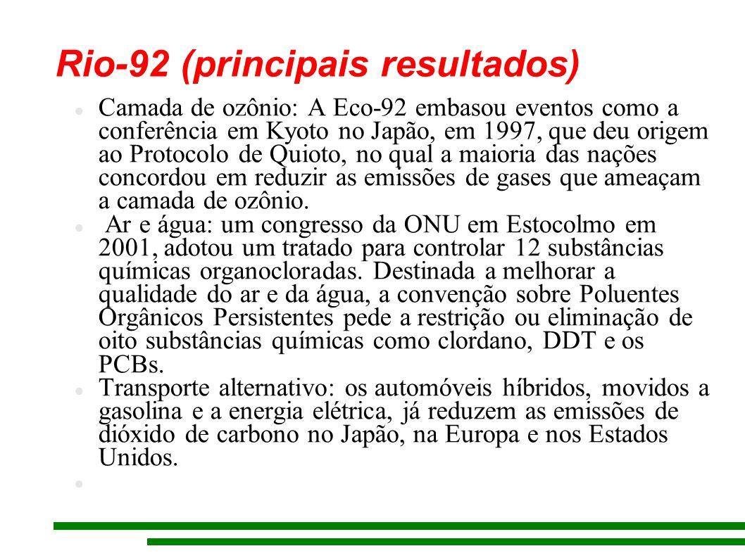 Rio-92 (principais resultados) Camada de ozônio: A Eco-92 embasou eventos como a conferência em Kyoto no Japão, em 1997, que deu origem ao Protocolo d