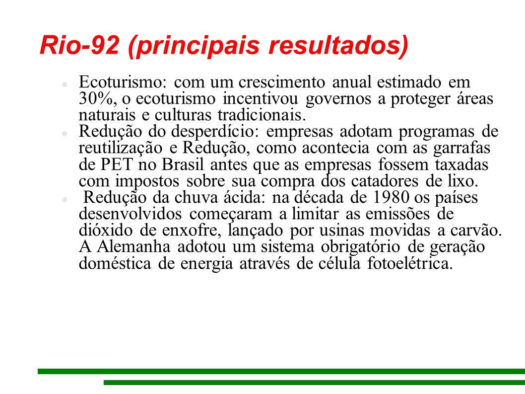 Rio-92 (principais resultados) Ecoturismo: com um crescimento anual estimado em 30%, o ecoturismo incentivou governos a proteger áreas naturais e cult