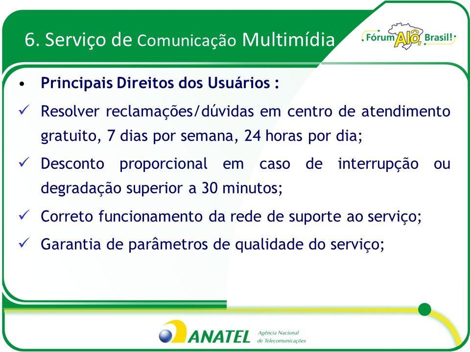 6. Serviço de Comunicação Multimídia Principais Direitos dos Usuários : Resolver reclamações/dúvidas em centro de atendimento gratuito, 7 dias por sem