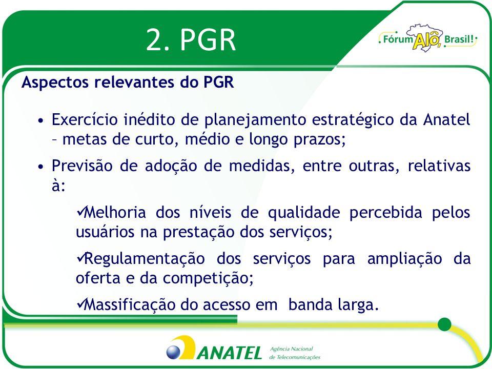 2. PGR Exercício inédito de planejamento estratégico da Anatel – metas de curto, médio e longo prazos; Previsão de adoção de medidas, entre outras, re