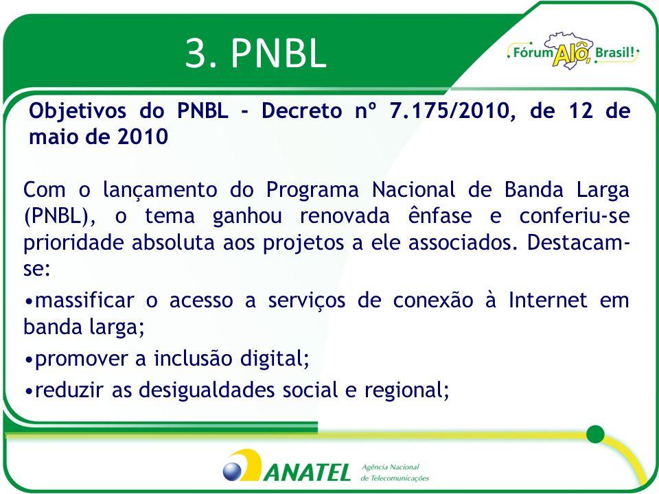 3. PNBL Com o lançamento do Programa Nacional de Banda Larga (PNBL), o tema ganhou renovada ênfase e conferiu-se prioridade absoluta aos projetos a el