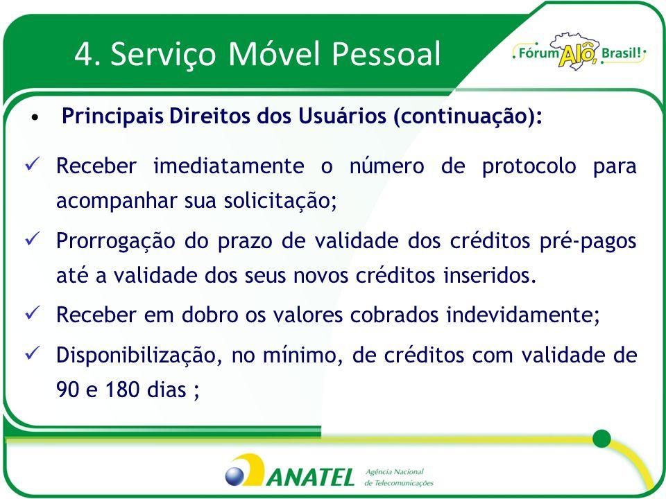 4. Serviço Móvel Pessoal Receber imediatamente o número de protocolo para acompanhar sua solicitação; Prorrogação do prazo de validade dos créditos pr