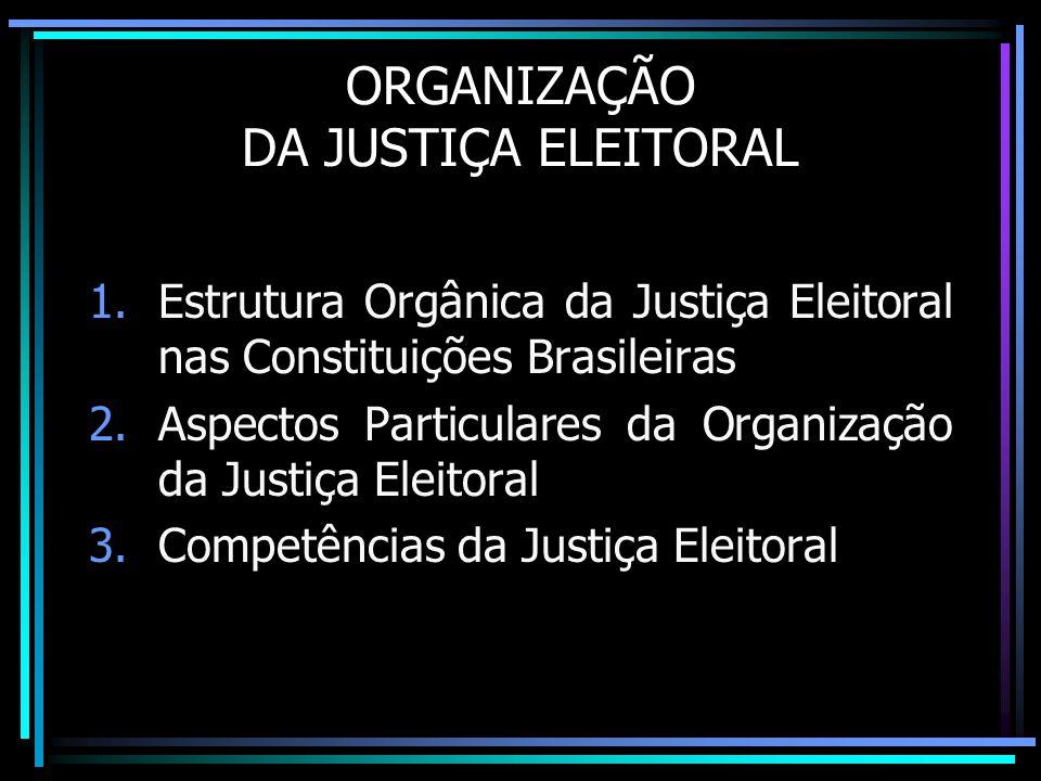 ORGANIZAÇÃO DA JUSTIÇA ELEITORAL 1.Estrutura Orgânica da Justiça Eleitoral nas Constituições Brasileiras 2.Aspectos Particulares da Organização da Jus
